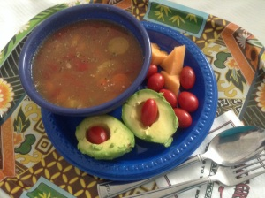 Veggie soup, no potatoes, avocado scooped from shell, pit removed; Cherub tomatoes and cantaloupe.